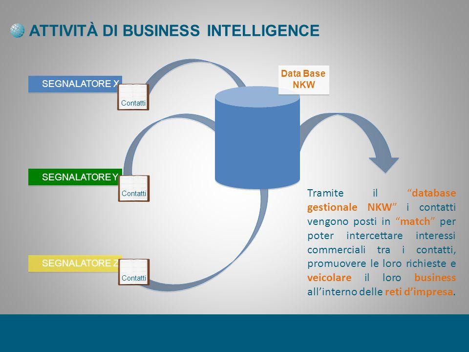 ATTIVITÀ DI BUSINESS INTELLIGENCE SEGNALATORE X SEGNALATORE Y SEGNALATORE Z Data Base NKW Tramite il database gestionale NKW i contatti vengono posti