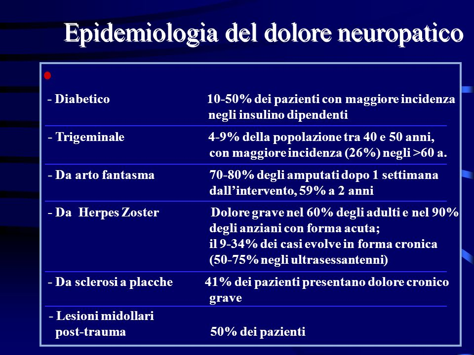 Epidemiologia del dolore neuropatico - Diabetico 10-50% dei pazienti con maggiore incidenza negli insulino dipendenti - Trigeminale 4-9% della popolaz