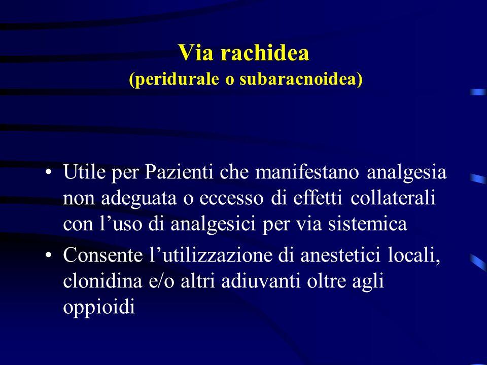Via rachidea (peridurale o subaracnoidea) Utile per Pazienti che manifestano analgesia non adeguata o eccesso di effetti collaterali con luso di analg