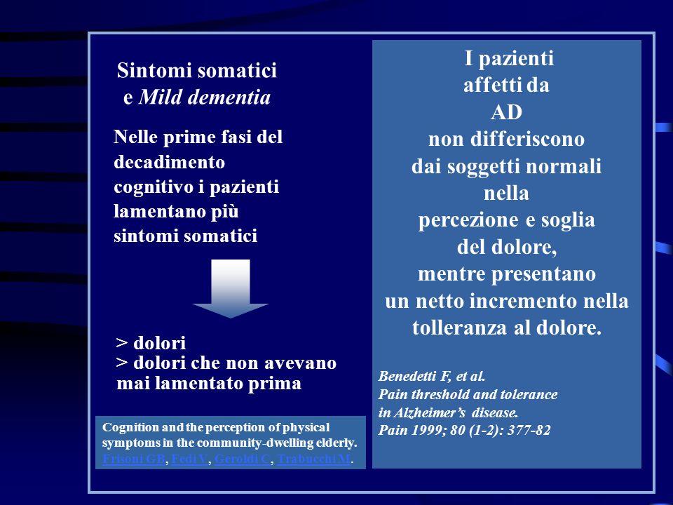 Sintomi somatici e Mild dementia Nelle prime fasi del decadimento cognitivo i pazienti lamentano più sintomi somatici > dolori > dolori che non avevan