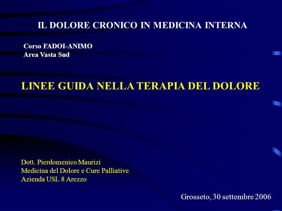 LINEE GUIDA NELLA TERAPIA DEL DOLORE Dott. Pierdomenico Maurizi Medicina del Dolore e Cure Palliative Azienda USL 8 Arezzo IL DOLORE CRONICO IN MEDICI
