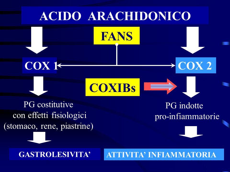 ACIDO ARACHIDONICO FANS COX 2COX 1 PG indotte pro-infiammatorie PG costitutive con effetti fisiologici (stomaco, rene, piastrine) GASTROLESIVITA ATTIV