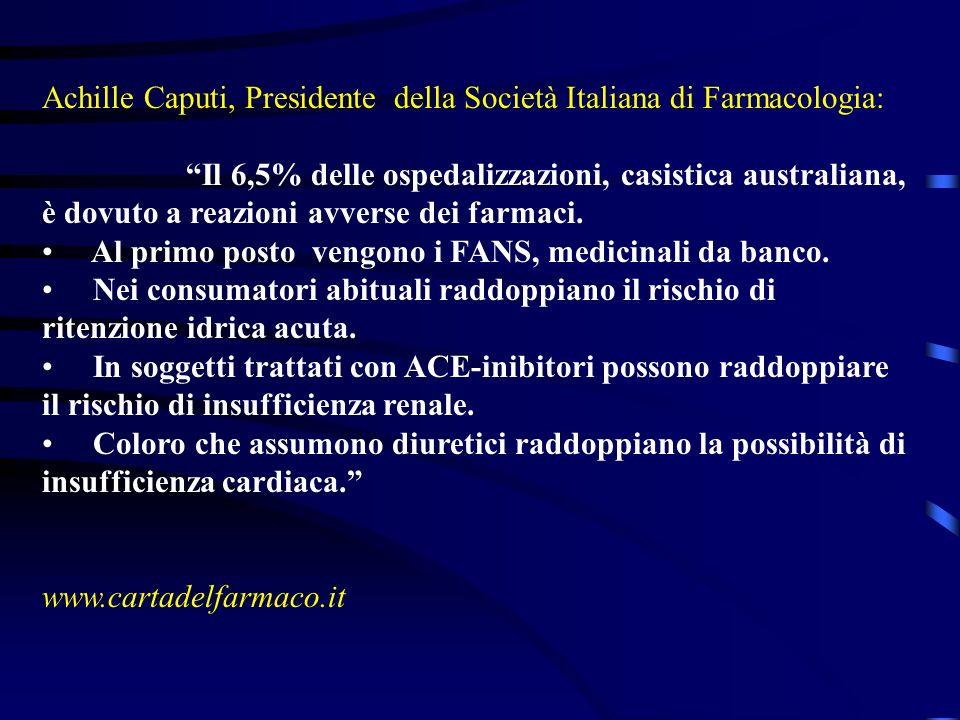 Achille Caputi, Presidente della Società Italiana di Farmacologia: Il 6,5% delle ospedalizzazioni, casistica australiana, è dovuto a reazioni avverse