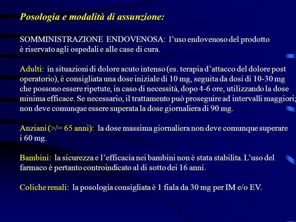 Posologia e modalità di assunzione: SOMMINISTRAZIONE ENDOVENOSA: luso endovenoso del prodotto è riservato agli ospedali e alle case di cura. Adulti: i