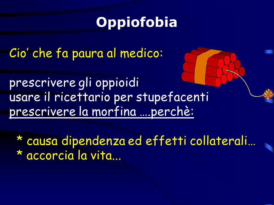 Cio che fa paura al medico: prescrivere gli oppioidi usare il ricettario per stupefacenti prescrivere la morfina ….perchè: * causa dipendenza ed effet