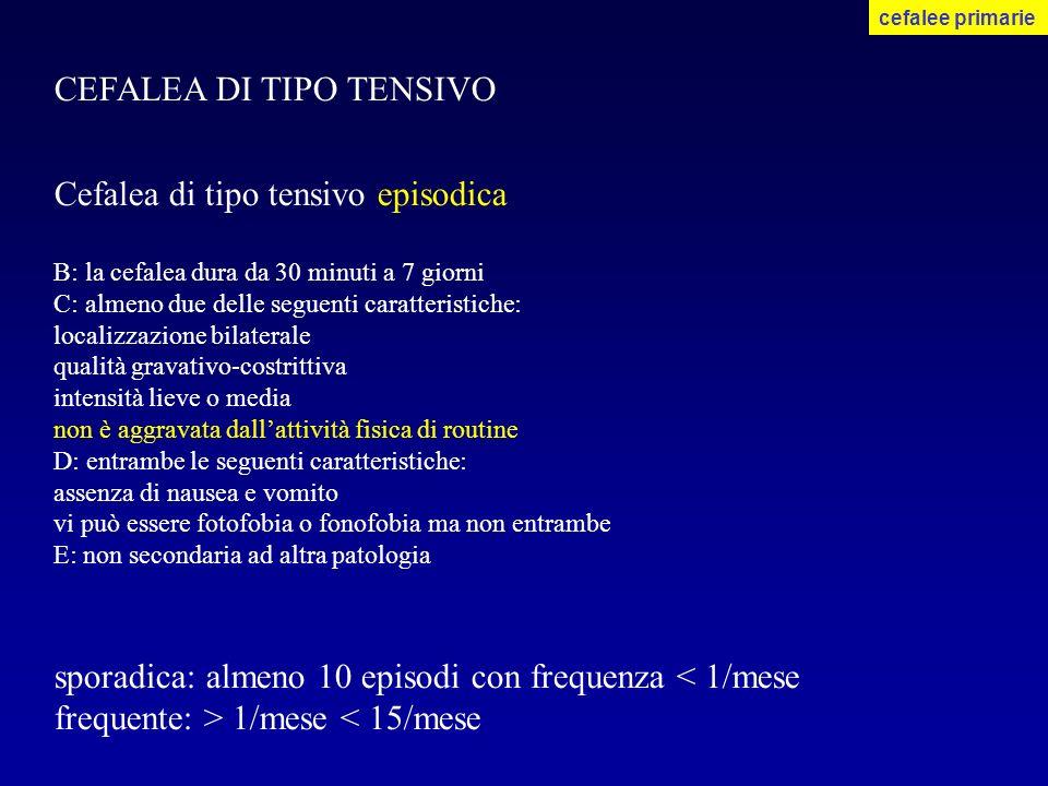 CEFALEA DI TIPO TENSIVO Cefalea di tipo tensivo episodica B: la cefalea dura da 30 minuti a 7 giorni C: almeno due delle seguenti caratteristiche: loc