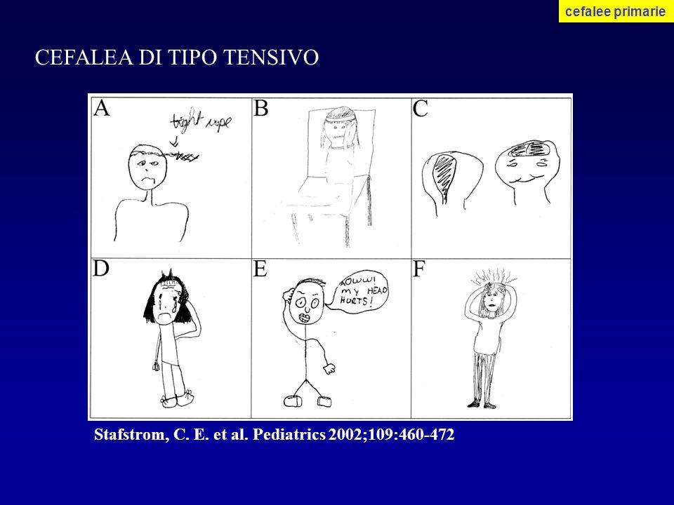 CEFALEA DI TIPO TENSIVO cefalee primarie Stafstrom, C. E. et al. Pediatrics 2002;109:460-472