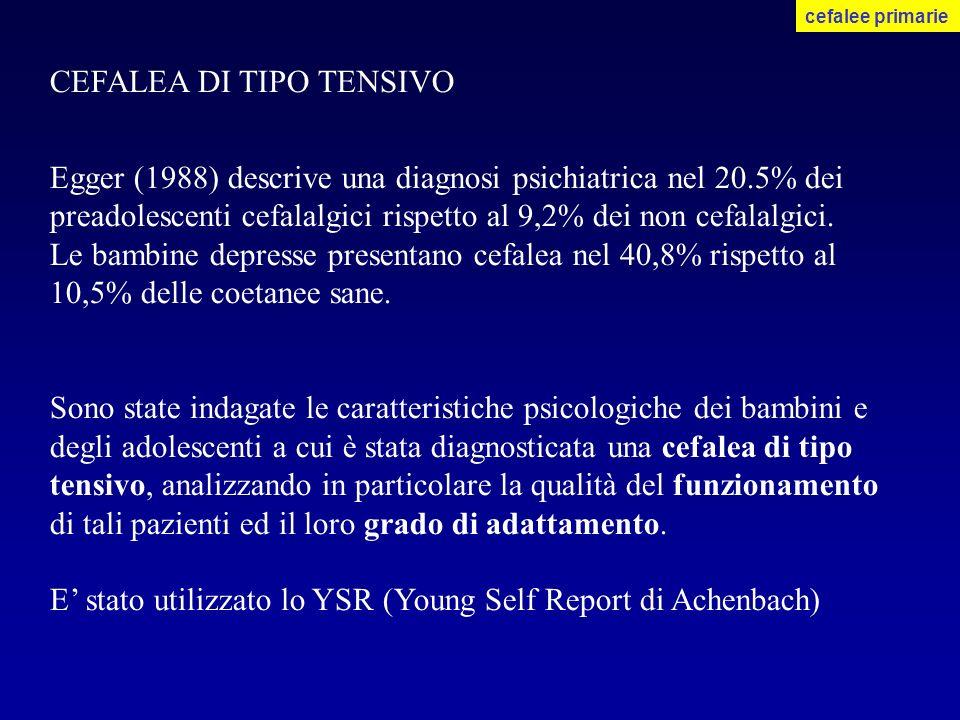 CEFALEA DI TIPO TENSIVO Egger (1988) descrive una diagnosi psichiatrica nel 20.5% dei preadolescenti cefalalgici rispetto al 9,2% dei non cefalalgici.