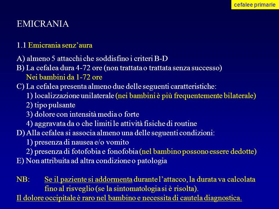 EMICRANIA 1.1 Emicrania senzaura A) almeno 5 attacchi che soddisfino i criteri B-D B) La cefalea dura 4-72 ore (non trattata o trattata senza successo