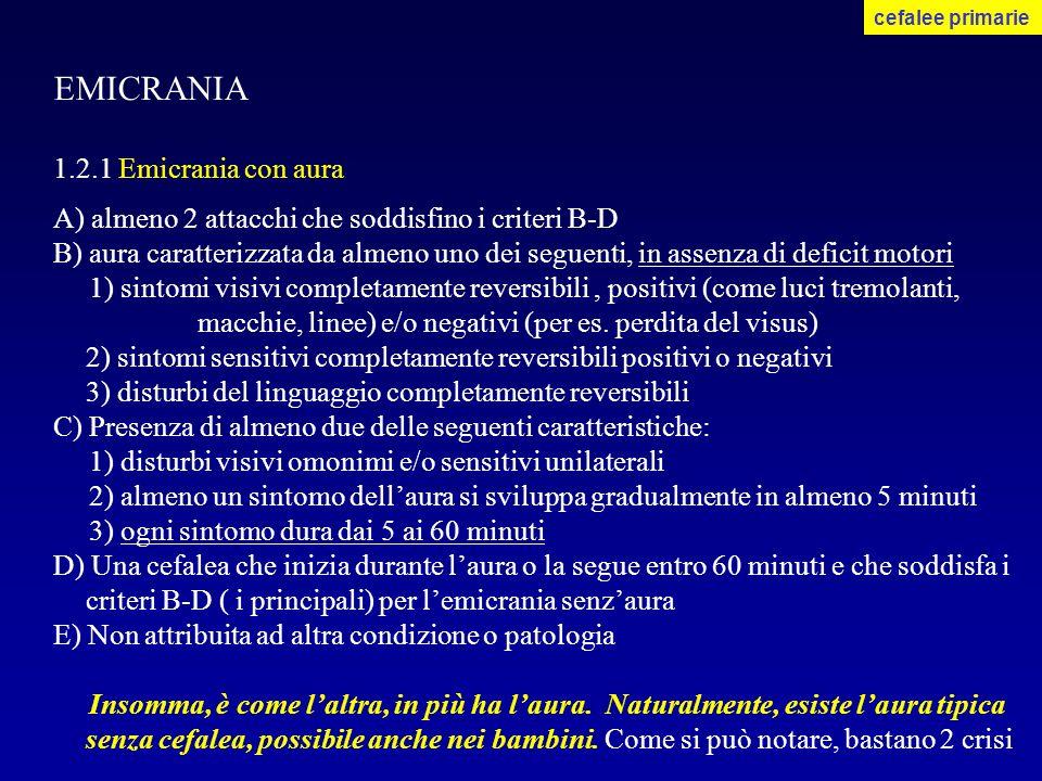 EMICRANIA 1.2.1 Emicrania con aura A) almeno 2 attacchi che soddisfino i criteri B-D B) aura caratterizzata da almeno uno dei seguenti, in assenza di