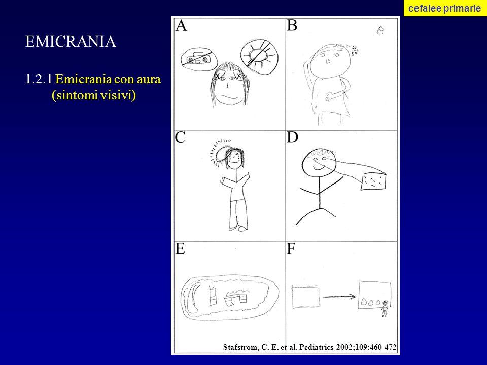 EMICRANIA 1.2.1 Emicrania con aura (sintomi visivi) cefalee primarie Stafstrom, C. E. et al. Pediatrics 2002;109:460-472