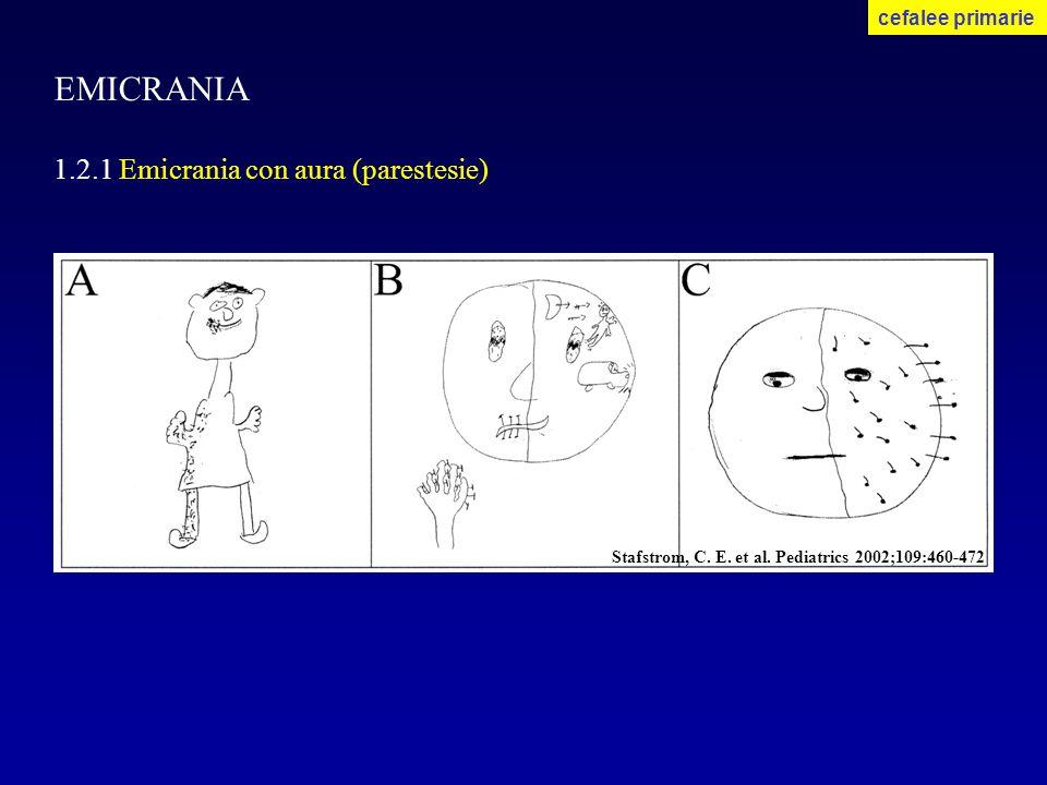 EMICRANIA 1.2.1 Emicrania con aura (parestesie) cefalee primarie Stafstrom, C. E. et al. Pediatrics 2002;109:460-472