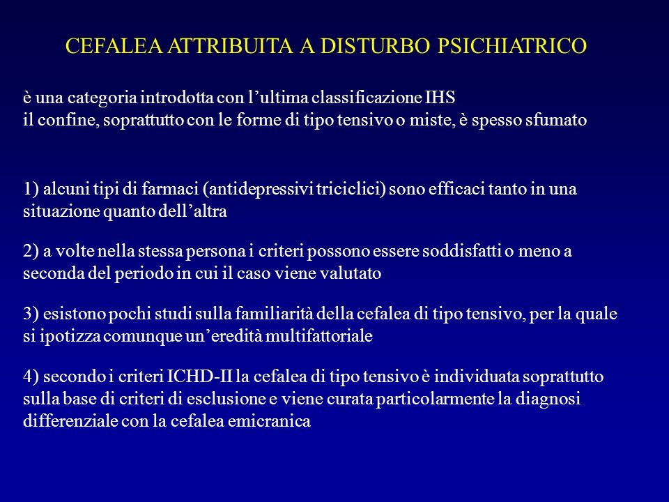 CLASSIFICAZIONE INTERNAZIONALE DELLE CEFALEE 2° EDIZIONE Cefalee primarie: Cefalea di tipo tensivo Emicrania Cefalea a grappolo e altre cefalalgie autonomico-trigeminali Altre cefalee primarie Cephalalgia, 2004 (vol 24, suppl.