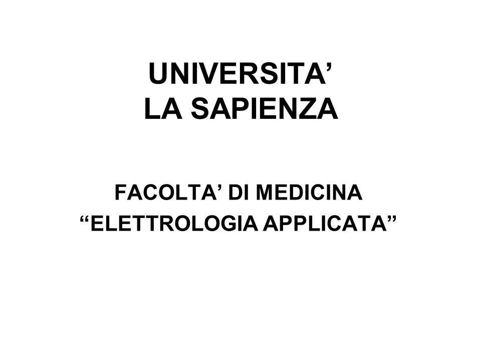 UNIVERSITA LA SAPIENZA FACOLTA DI MEDICINA ELETTROLOGIA APPLICATA