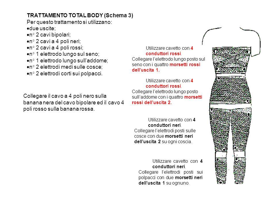 TRATTAMENTO TOTAL BODY (Schema 3) Per questo trattamento si utilizzano: due uscite; n° 2 cavi bipolari; n° 2 cavi a 4 poli neri; n° 2 cavi a 4 poli ro