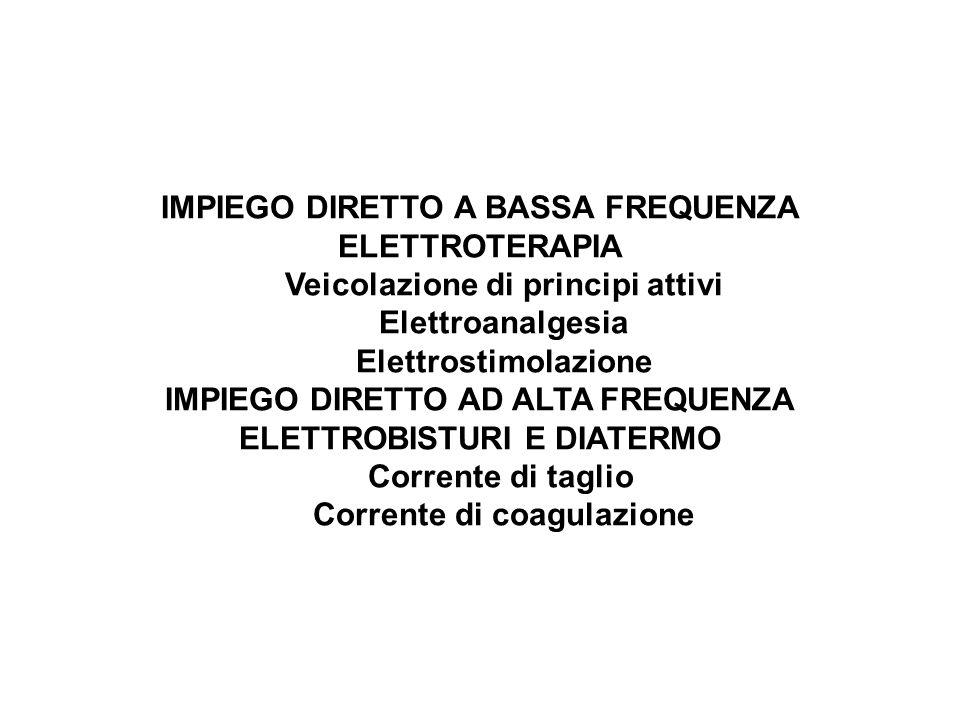 IMPIEGO DIRETTO A BASSA FREQUENZA ELETTROTERAPIA Veicolazione di principi attivi Elettroanalgesia Elettrostimolazione IMPIEGO DIRETTO AD ALTA FREQUENZ