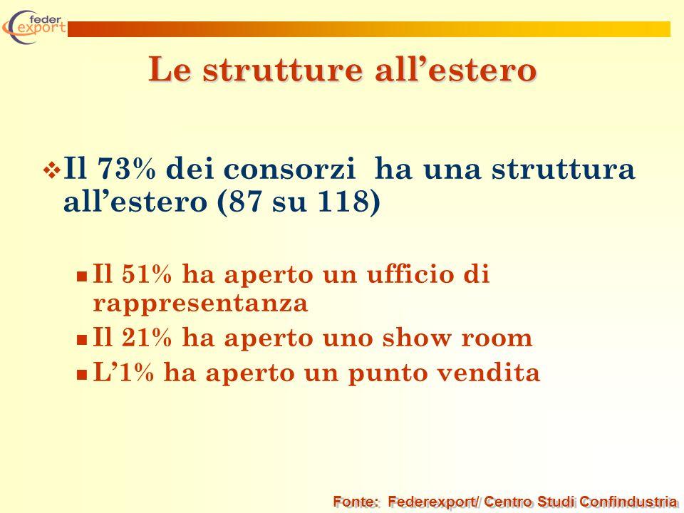 Le strutture allestero Il 73% dei consorzi ha una struttura allestero (87 su 118) Il 51% ha aperto un ufficio di rappresentanza Il 21% ha aperto uno s