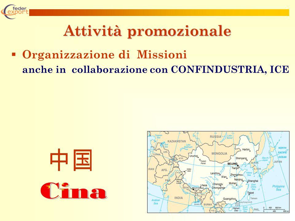 Attività promozionale Organizzazione di Missioni anche in collaborazione con CONFINDUSTRIA, ICE
