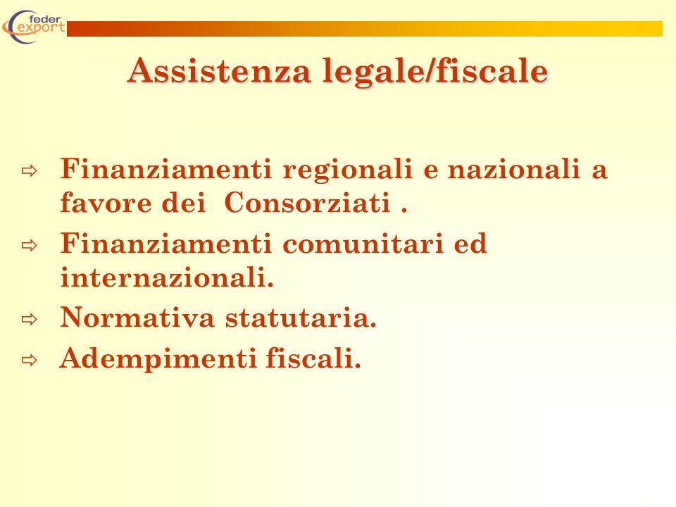 Assistenza legale/fiscale Finanziamenti regionali e nazionali a favore dei Consorziati.