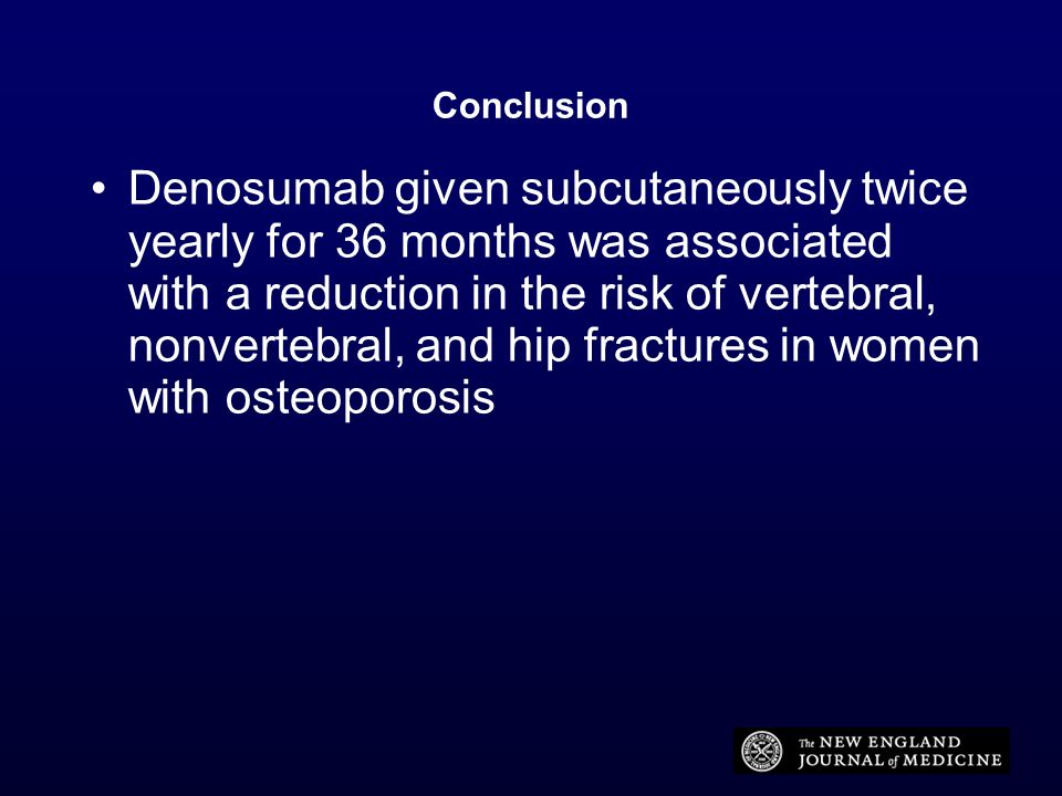 Conclusion Denosumab given subcutaneously twice yearly for 36 months was associated with a reduction in the risk of vertebral, nonvertebral, and hip f