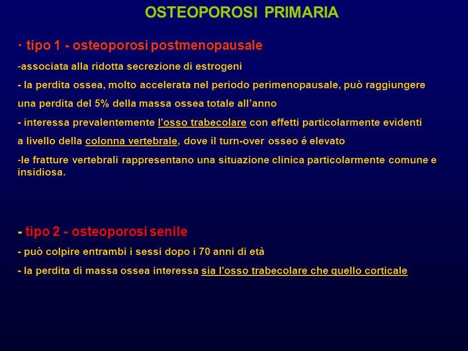 tipo 1 - osteoporosi postmenopausale -associata alla ridotta secrezione di estrogeni - la perdita ossea, molto accelerata nel periodo perimenopausale,