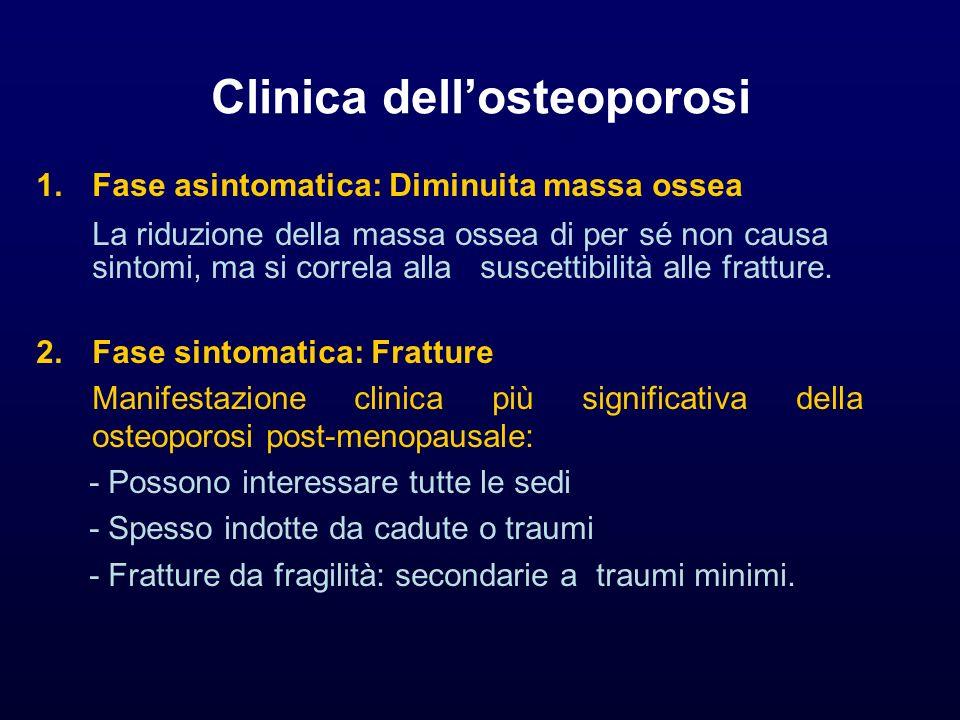 Clinica dellosteoporosi 1.Fase asintomatica: Diminuita massa ossea La riduzione della massa ossea di per sé non causa sintomi, ma si correla alla susc