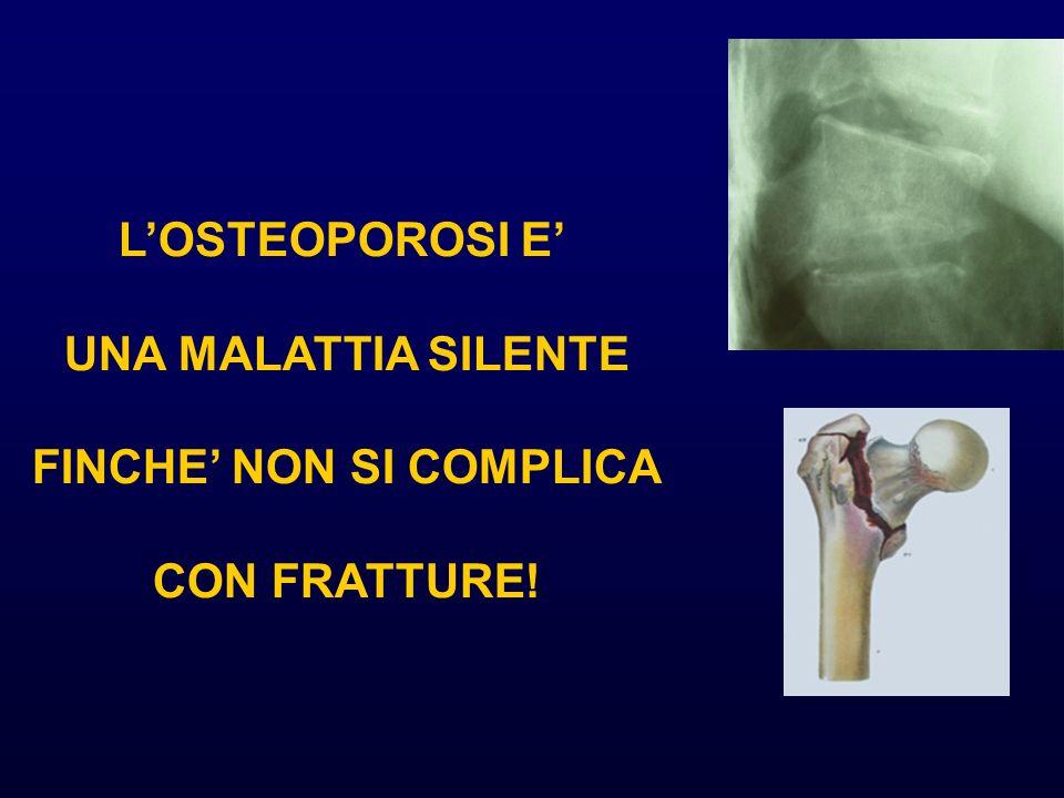 Rischio di nuove fratture vertebrali in soggetti con una pregressa frattura vertebrale 0 5 10 15 20 25 bassamediaelevata RR di frattura vertebrale Massa ossea Ross et al Ann Int Med, 1991 No frattura Frattura