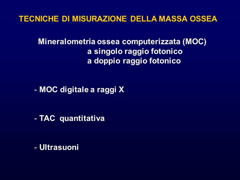 TECNICHE DI MISURAZIONE DELLA MASSA OSSEA - Mineralometria ossea computerizzata (MOC) a singolo raggio fotonico a doppio raggio fotonico - MOC digital