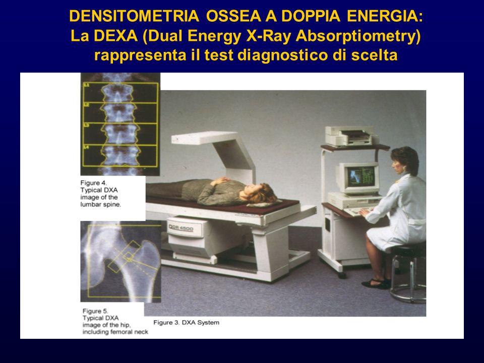 DENSITOMETRIA OSSEA A DOPPIA ENERGIA: La DEXA (Dual Energy X-Ray Absorptiometry) rappresenta il test diagnostico di scelta