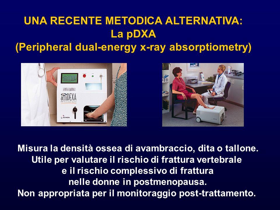 UNA RECENTE METODICA ALTERNATIVA: La pDXA (Peripheral dual-energy x-ray absorptiometry) Misura la densità ossea di avambraccio, dita o tallone. Utile