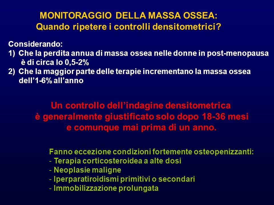 MONITORAGGIO DELLA MASSA OSSEA: Quando ripetere i controlli densitometrici? Considerando: 1)Che la perdita annua di massa ossea nelle donne in post-me