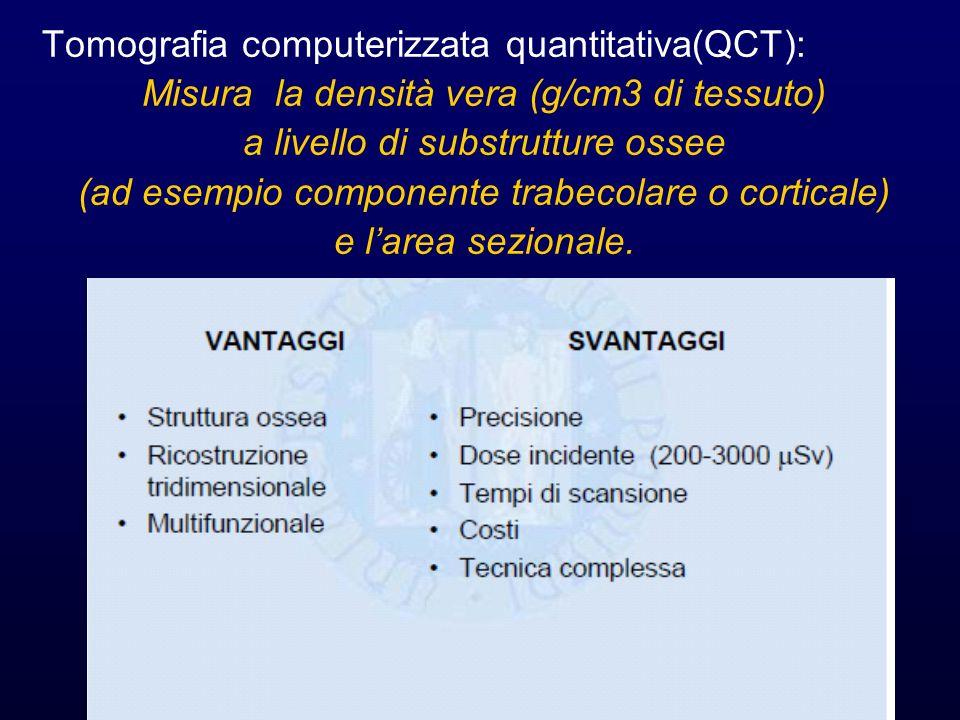 Tomografia computerizzata quantitativa(QCT): Misura la densità vera (g/cm3 di tessuto) a livello di substrutture ossee (ad esempio componente trabecol
