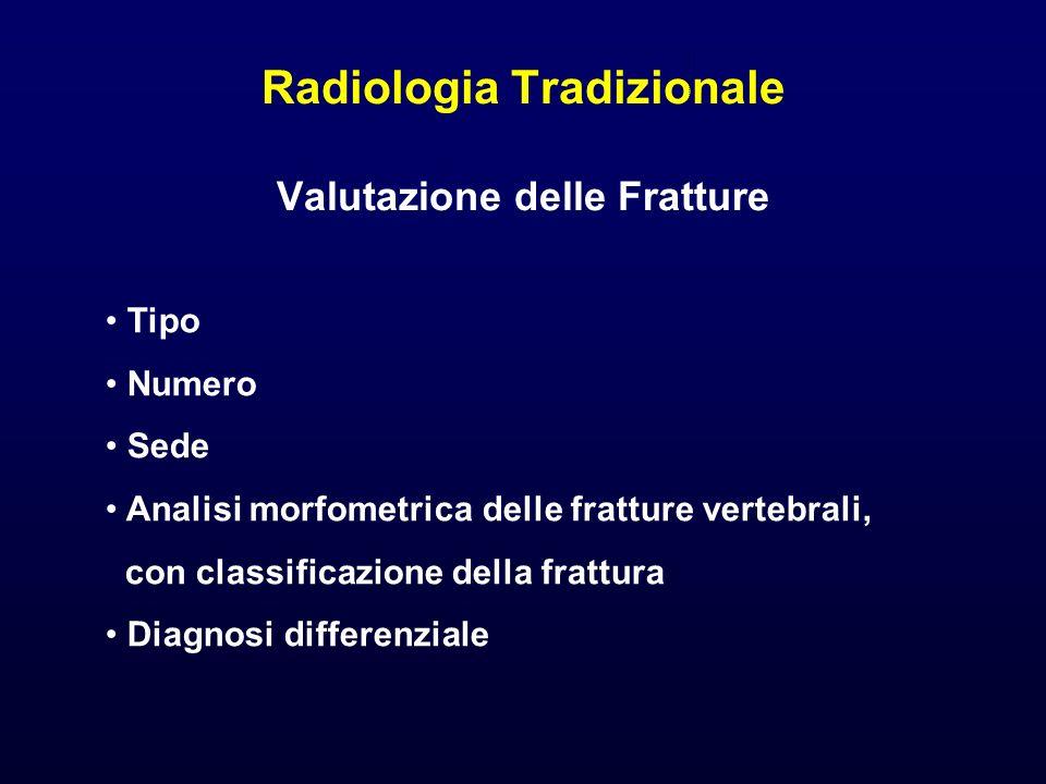 Radiologia Tradizionale Valutazione delle Fratture Tipo Numero Sede Analisi morfometrica delle fratture vertebrali, con classificazione della frattura
