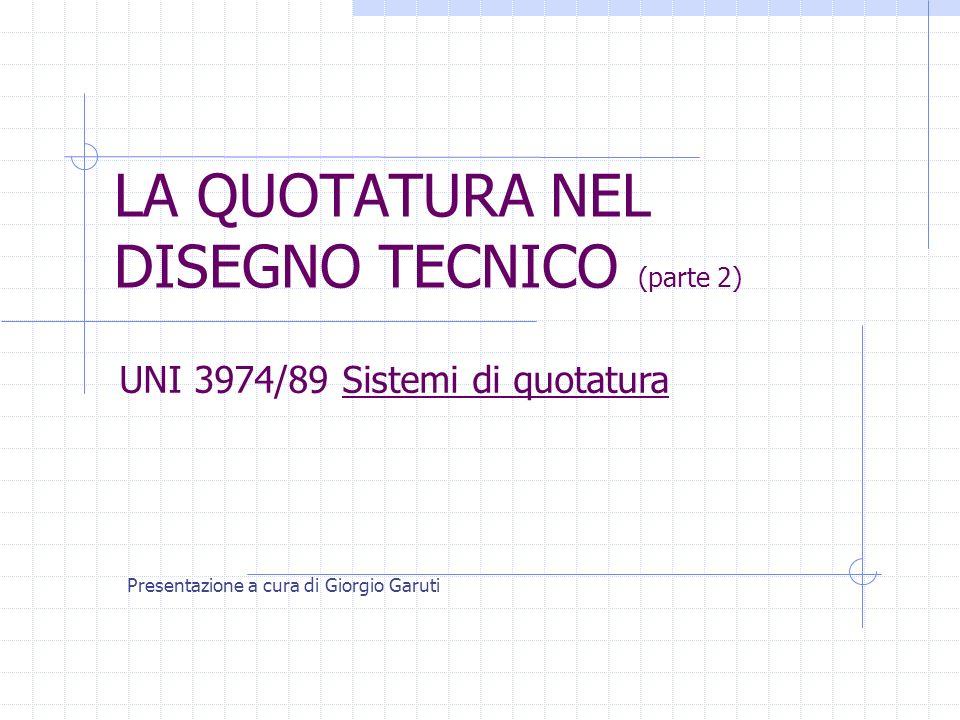 LA QUOTATURA NEL DISEGNO TECNICO (parte 2) Presentazione a cura di Giorgio Garuti UNI 3974/89 Sistemi di quotatura