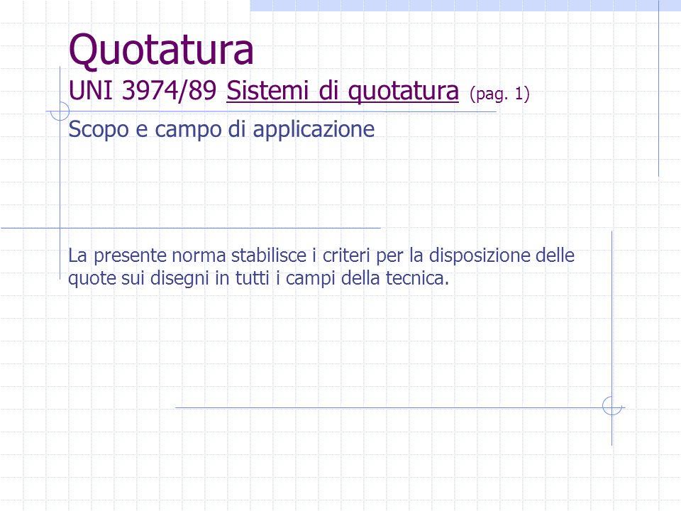 Quotatura in serie (o in catena) È da adottare allorchè hanno importanza preminente le singole misure tra elementi contigui e quando laccumulo degli scostamenti non compromette la funzionalità delloggetto.