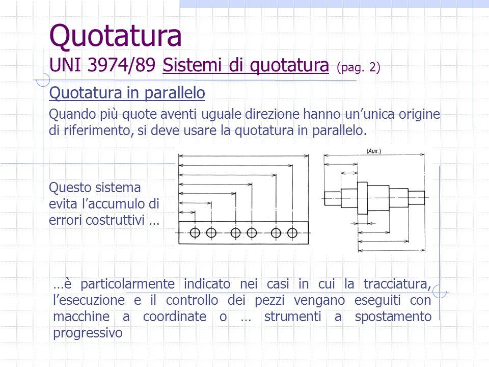 Quotatura in parallelo Le linee di misura sono tra loro parallele ed è necessario distanziarle sufficientemente per la scritturazione dei valori numerici Quotatura UNI 3974/89 Sistemi di quotatura (pag.