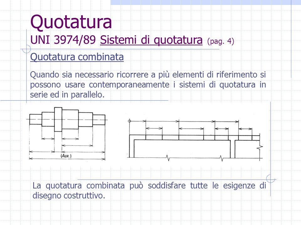 Quotatura combinata Quando sia necessario ricorrere a più elementi di riferimento si possono usare contemporaneamente i sistemi di quotatura in serie