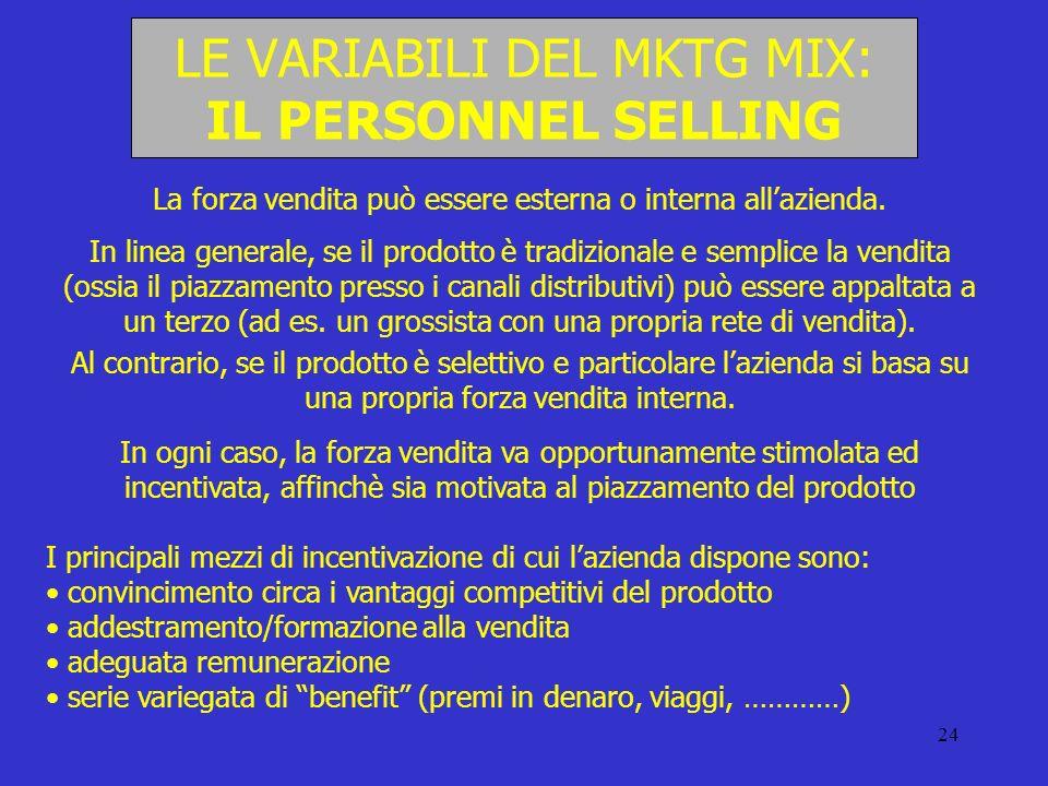 24 LE VARIABILI DEL MKTG MIX: IL PERSONNEL SELLING La forza vendita può essere esterna o interna allazienda. In linea generale, se il prodotto è tradi
