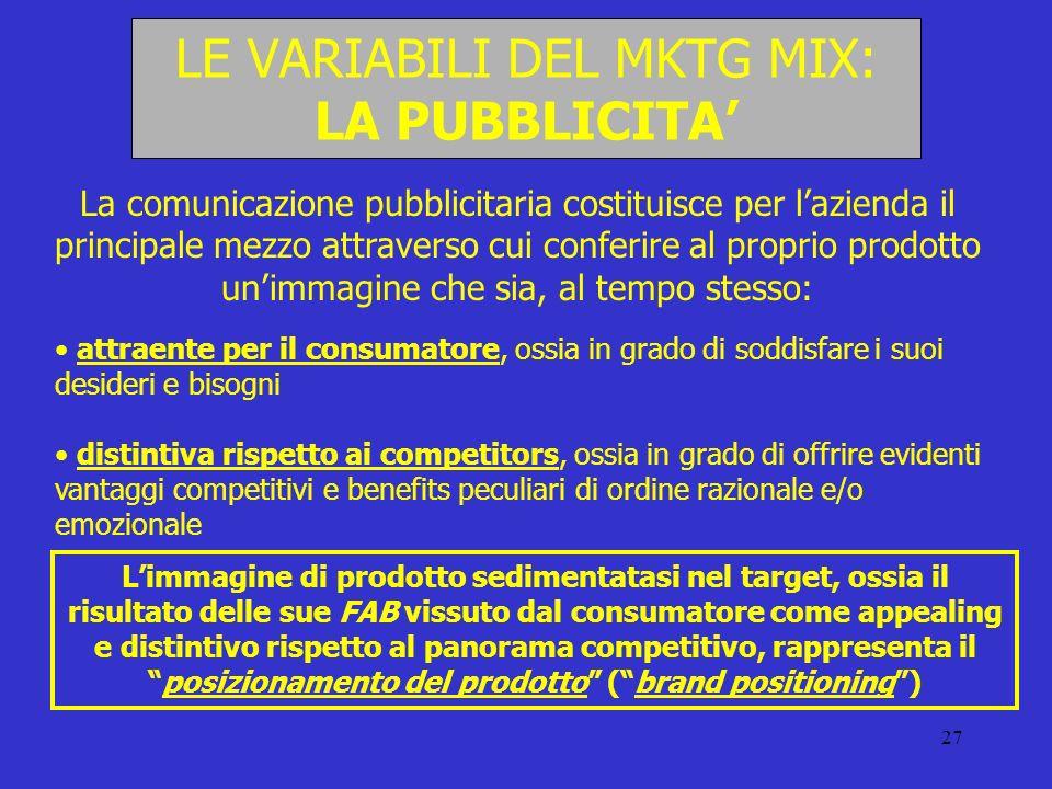 27 LE VARIABILI DEL MKTG MIX: LA PUBBLICITA La comunicazione pubblicitaria costituisce per lazienda il principale mezzo attraverso cui conferire al pr