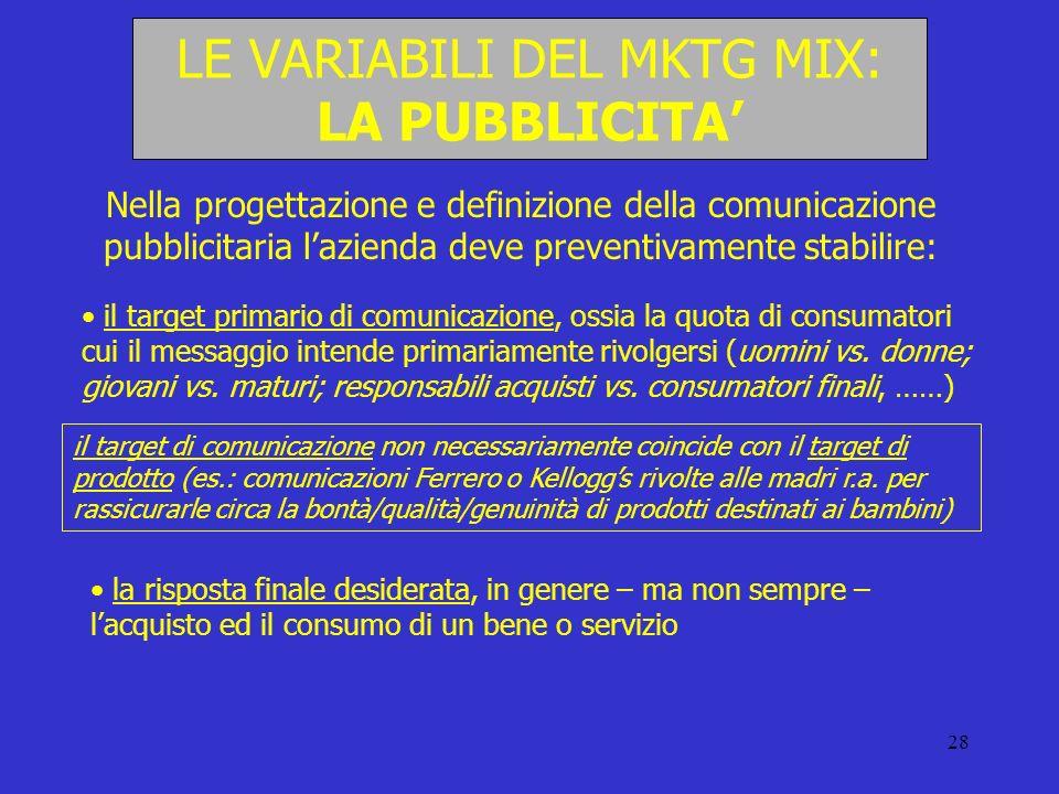 28 LE VARIABILI DEL MKTG MIX: LA PUBBLICITA Nella progettazione e definizione della comunicazione pubblicitaria lazienda deve preventivamente stabilir