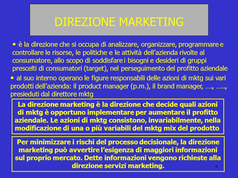6 DIREZIONE MARKETING è la direzione che si occupa di analizzare, organizzare, programmare e controllare le risorse, le politiche e le attività dellaz