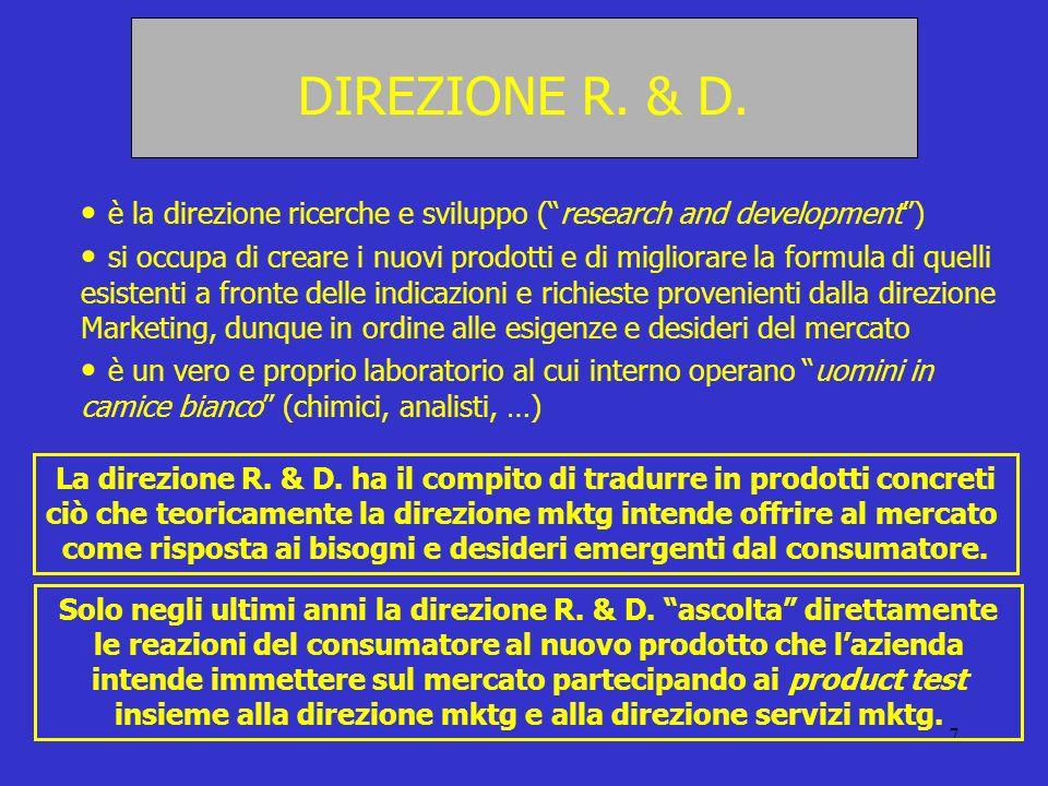 7 DIREZIONE R. & D. è la direzione ricerche e sviluppo (research and development) si occupa di creare i nuovi prodotti e di migliorare la formula di q