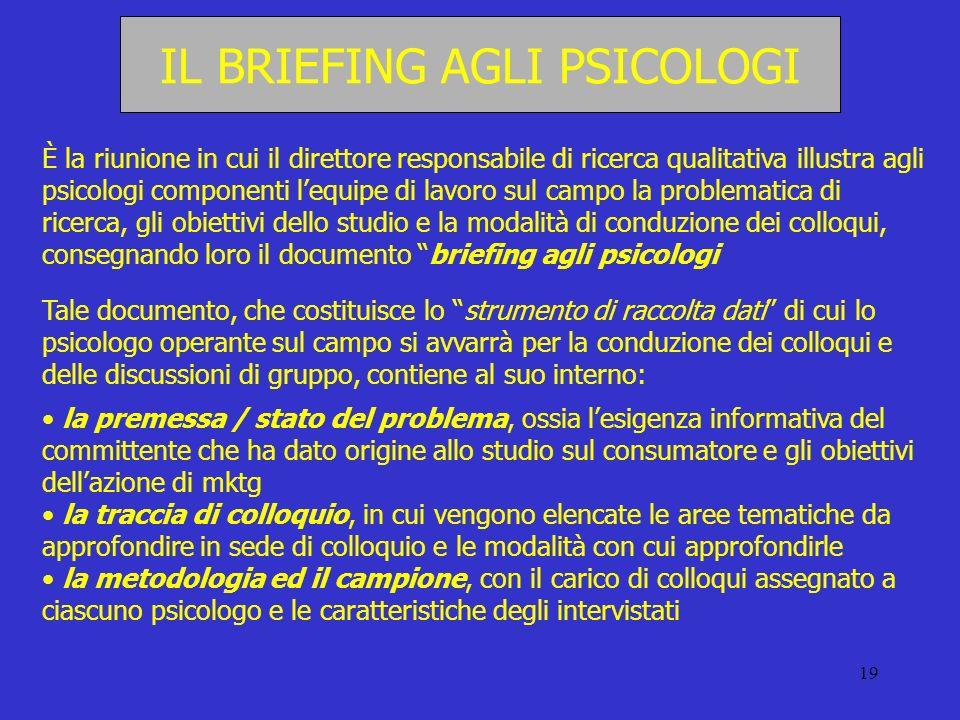 19 IL BRIEFING AGLI PSICOLOGI È la riunione in cui il direttore responsabile di ricerca qualitativa illustra agli psicologi componenti lequipe di lavo