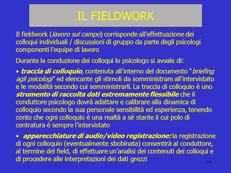 20 IL FIELDWORK Il fieldwork (lavoro sul campo) corrisponde alleffettuazione dei colloqui individuali / discussioni di gruppo da parte degli psicologi