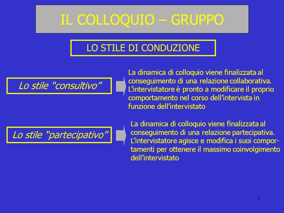 5 LO STILE DI CONDUZIONE Lo stile consultivo Lo stile partecipativo La dinamica di colloquio viene finalizzata al conseguimento di una relazione colla