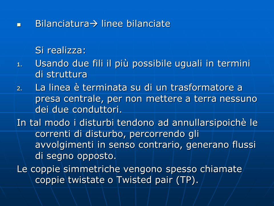 Bilanciatura linee bilanciate Bilanciatura linee bilanciate Si realizza: 1. Usando due fili il più possibile uguali in termini di struttura 2. La line