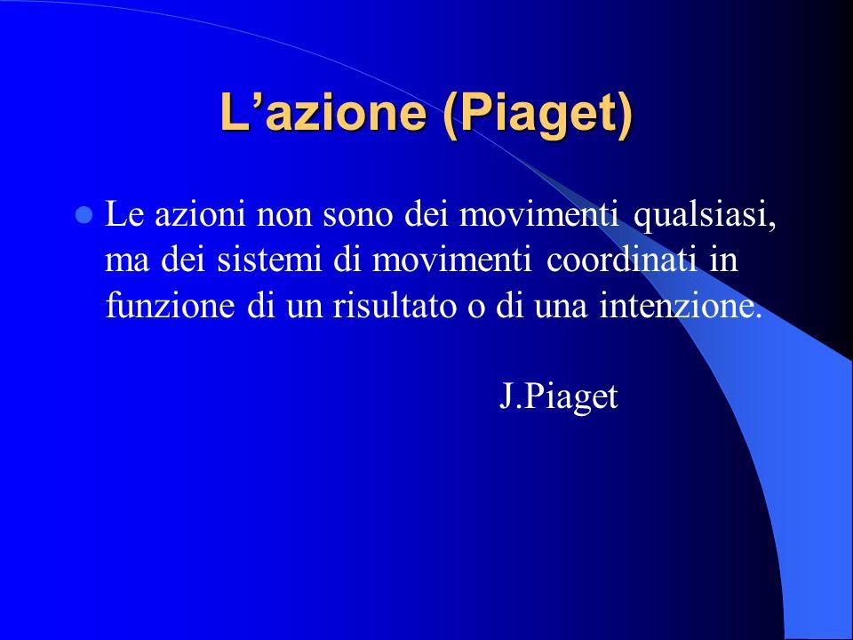 Lazione (Piaget) Le azioni non sono dei movimenti qualsiasi, ma dei sistemi di movimenti coordinati in funzione di un risultato o di una intenzione. J