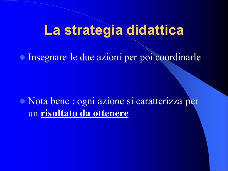 La strategia didattica Insegnare le due azioni per poi coordinarle Nota bene : ogni azione si caratterizza per un risultato da ottenere