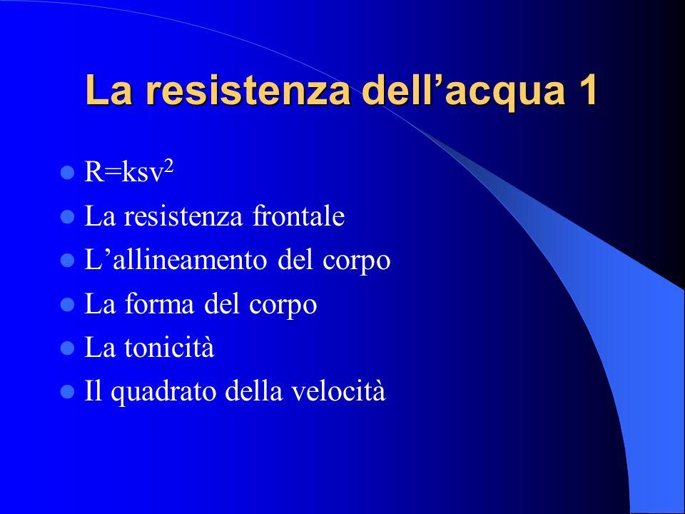 La resistenza dellacqua 1 R=ksv 2 La resistenza frontale Lallineamento del corpo La forma del corpo La tonicità Il quadrato della velocità