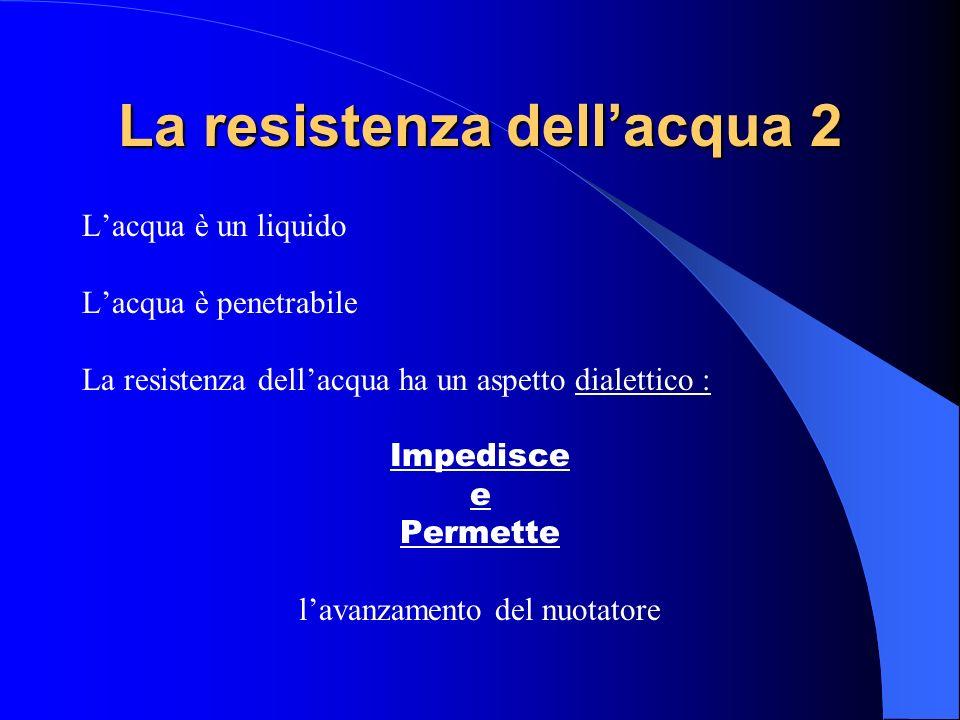 La resistenza dellacqua 2 Lacqua è un liquido Lacqua è penetrabile La resistenza dellacqua ha un aspetto dialettico : Impedisce e Permette lavanzament